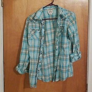 Ariat turquoise plaid button up shirt